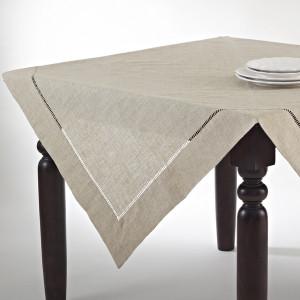 Handmade Hemstitch Design Natural Tablecloth
