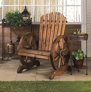 Fennco Styles Decorative Wagon Wheel Adirondack Chair