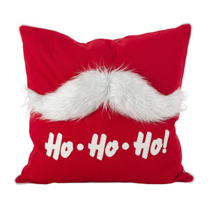 "Fennco Styles Faux Fur Mustache Santa Claus Cotton Poly Filled Throw Pillow 18"" Square"