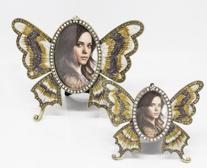 Fennco Styles Buttlerfly Shaped Diamond Decorative Picture Frame