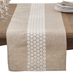 "Fennco Styles Classic Openwork Lace Daisy Table Runner 16""x72"""