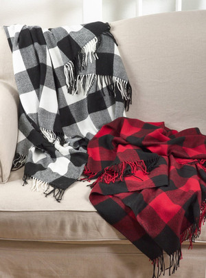 "Fennco Styles Buffalo Plaid Checkered Tassel Throw - 50""x60"""