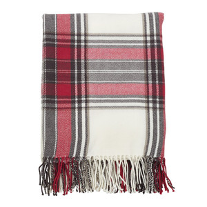 "Fennco Styles Classic Plaid Pattern Tassel Trim Throw - 50""x60"""