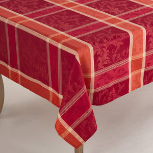 Fennco Styles Pumpion Collection Plaid Design Tablecloth