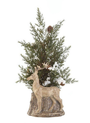 Fennco Styles Holiday Decorative Christmas Deer Pine Spring Topiary