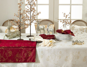 Fennco Styles Royal De Noel Holiday Design Jacquard Rectangular Tablecloth & Table Runner