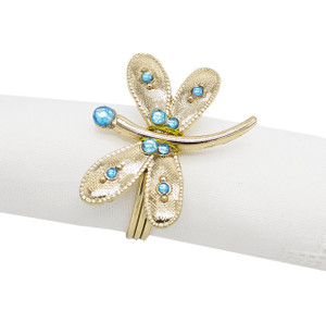 Fennco Styles Dragonfly Metal Design Napkin Ring-Set of 4