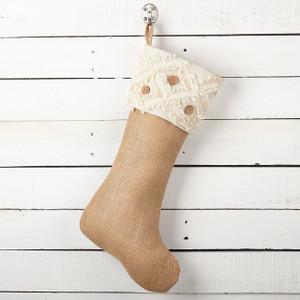"""Fennco Styles Fringe Button/ Tiered Fringe  Design Decorative Jute Christmas Stocking -13""""x19"""""""
