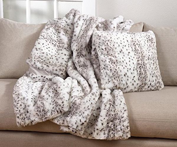 "Fennco Styles Elegant Faux Fur Soft Ombre Poly Filled Throw Blanket-50""x60"""