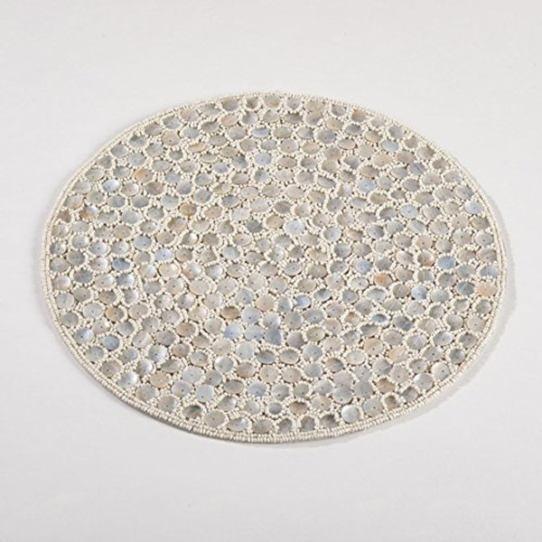 "Fennco Styles Bora Bora Elegant Hand Beaded Design Round Placemat - 1 Piece (15"" Round)"