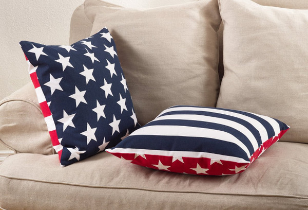 """Fennco Styles Star Spangled Collection Star Striped Design Down Filled Cotton Throw Pillow 20""""x20"""""""
