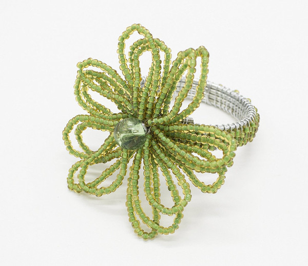 Fennco Styles Hand Beaded Flower Design Napkin Ring-Set of 4