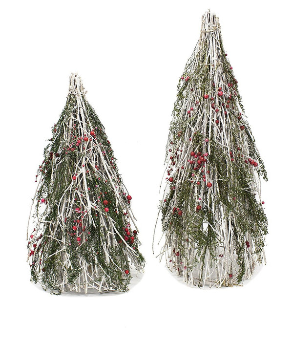 Fennco Styles Holiday Décor Red Berry Natural Twig Branch Christmas Cone Tree