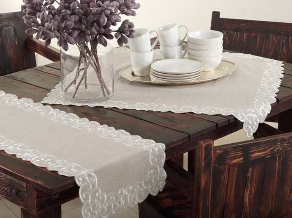Fennco Styles Embroidered Scallop Design Natural Linen Blend Collection