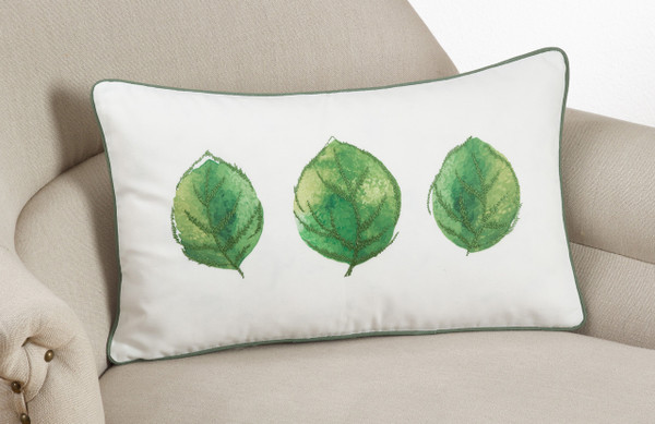 """Fennco Styles Embroidered and Printed Leaf Decortative Throw Pillow 12""""x20"""""""
