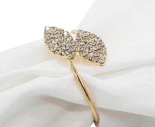 Fennco Styles Elegant Crystal Rhinestone Leaf Napkin Ring-2 Colors (Gold)
