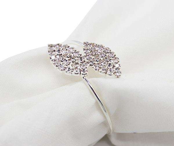 Fennco Styles Elegant Crystal Rhinestone Leaf Napkin Ring-2 Colors (Silver)
