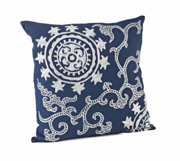Embroidered Medallion Down Filled Decorative Throw Pillow