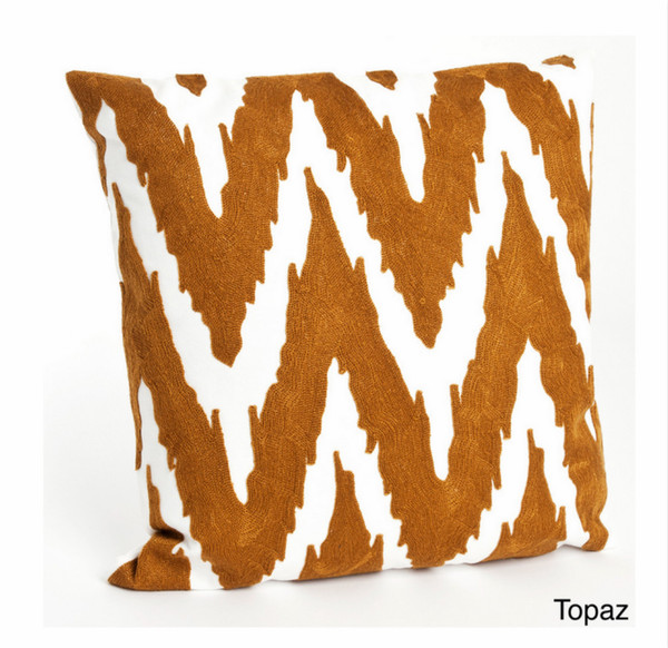 Brasileiro Embroidered Chevron Decorative Throw Pillow