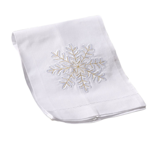 Fennco Styles Christmas Towel Embroidered and Hemstitched Snowflake Design Towel - White