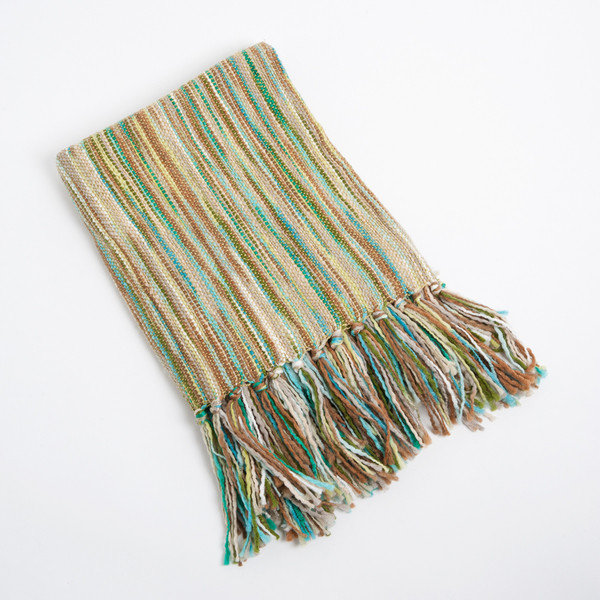 Woven Contemporary Throw Blanket with Friniges