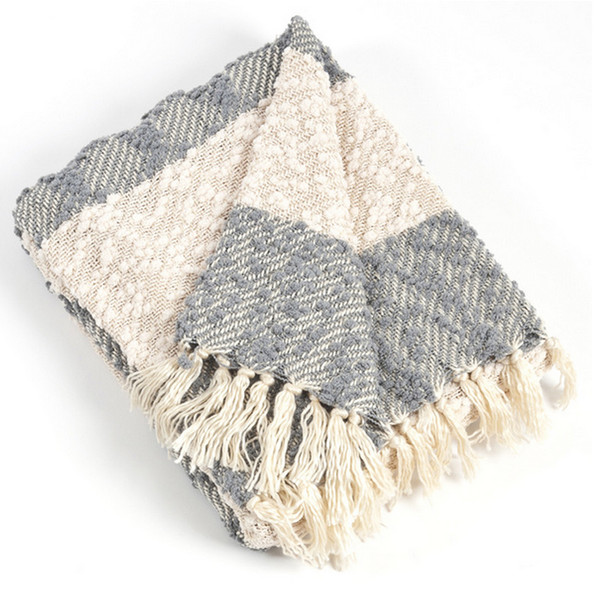 Nubby Design Striped Throw Blanket, Grey