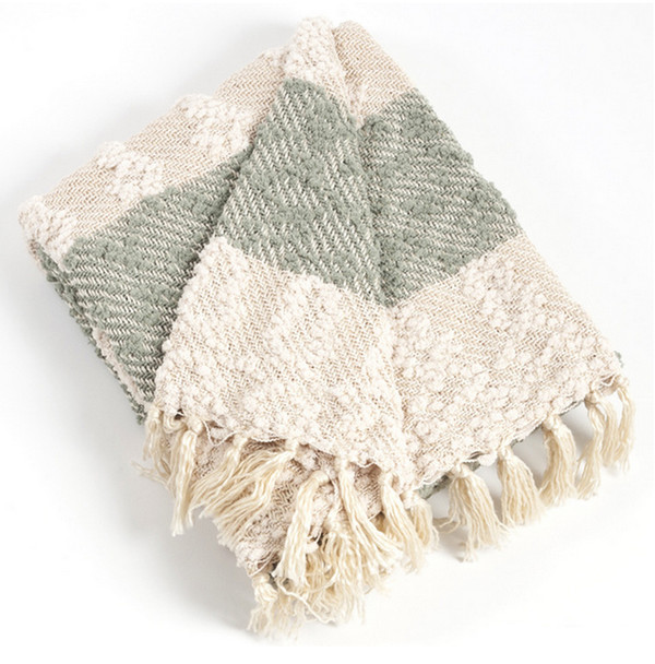 Nubby Design Striped Throw Blanket, Sea Green