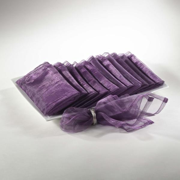 Sheer Decorative Organza Dinner Napkins, Set of 12, Purple