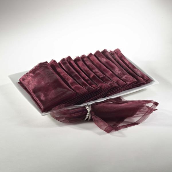 Sheer Decorative Organza Dinner Napkins, Set of 12, Wine