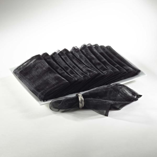 Sheer Decorative Organza Dinner Napkins, Set of 12, Black