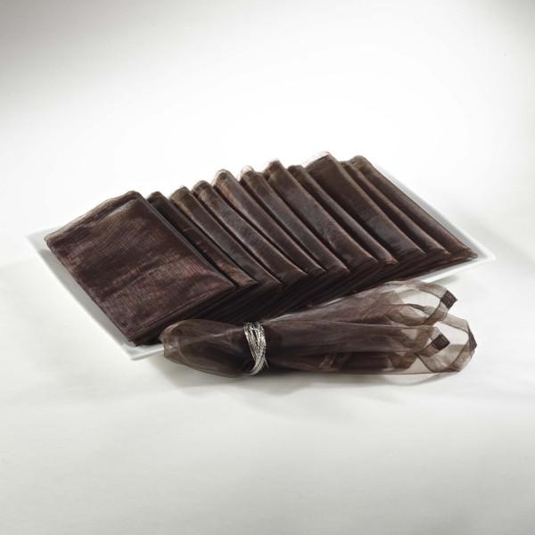 Sheer Decorative Organza Dinner Napkins, Set of 12, Chocolate
