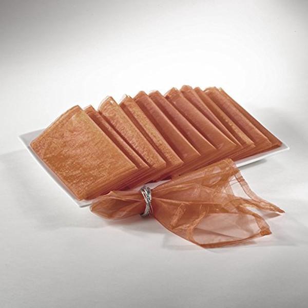 Sheer Decorative Organza Dinner Napkins, Set of 12, Copper