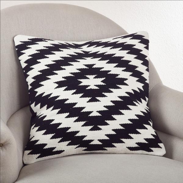 Kilim Design Down Filled Throw Pillow, Black and White