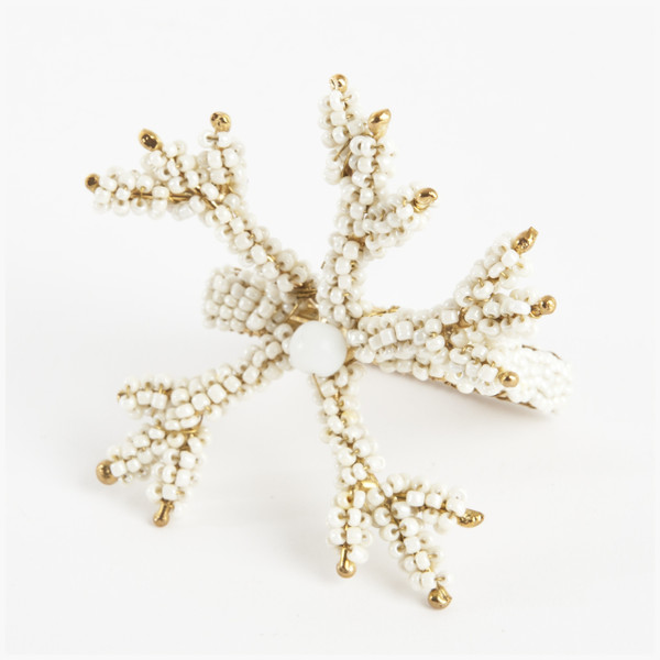 Hand Beaded Coral Napkin Rings, 4 Pieces