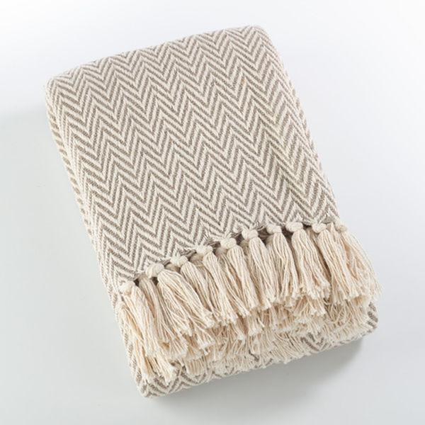 Fennco Styles Sevan Collection Soft Cotton Chevron Throw Blanket