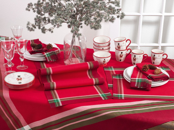 Fennco Styles Tartan Design Cotton Table Linens Placemat Napkins Table Runner Tablecloth