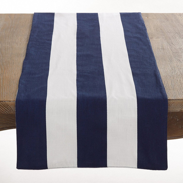 "Saint John Collection Striped Design Cotton Table Runner - 16""x72"" Navy Blue"