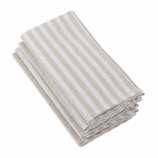 Fennco Styles Striped Border Printed Design Cotton Linen Series