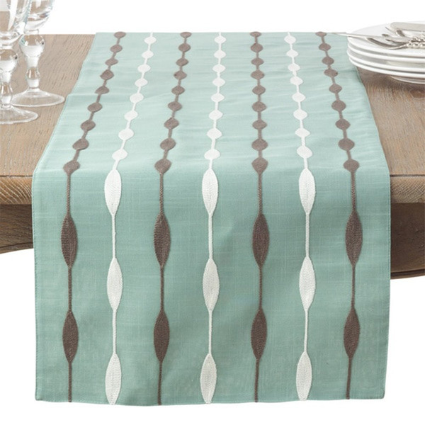 Fennco Styles Modern Embroidered Design Table Runner 2 Color