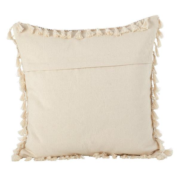 Fennco Styles Moroccan Design Tassel Fringe Cotton Down Filled Throw Pillow