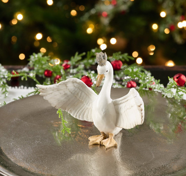 Fennco Styles Swan with Crown Christmas Holiday Decorative Figurine Statue 2 pcs Set
