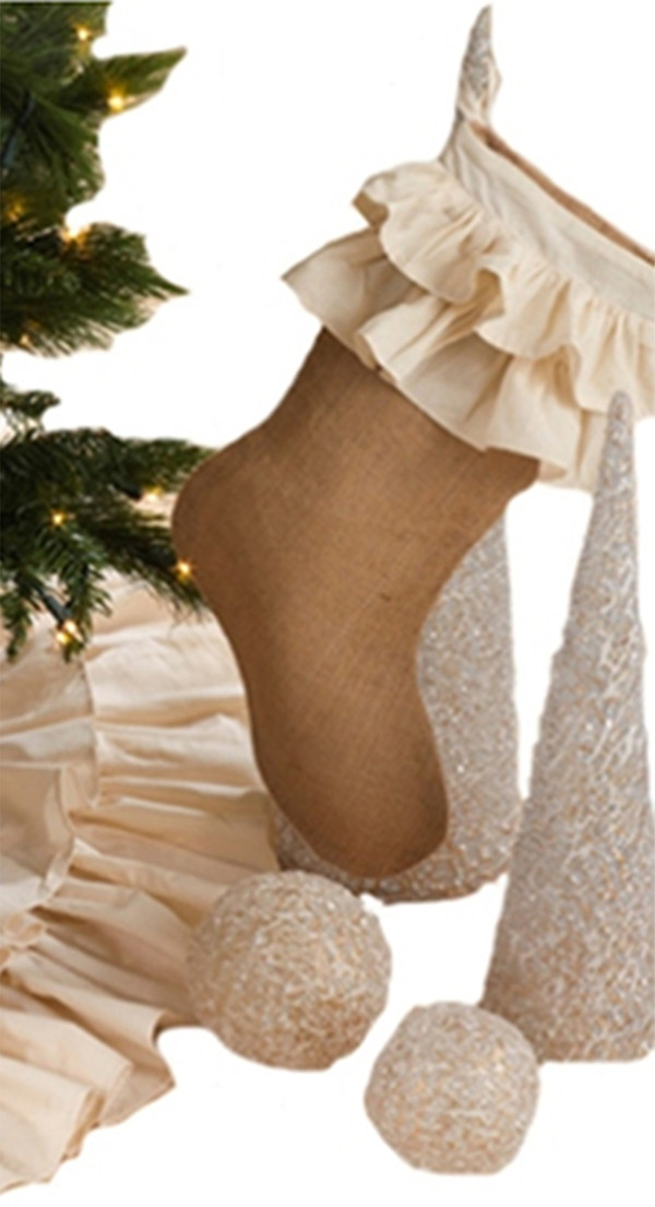 Sidonia Cotton and Jute Ruffled Christmas Stocking