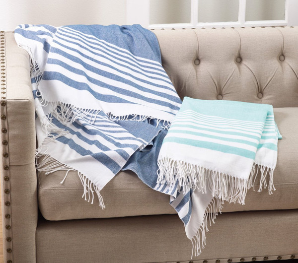 "Fennco Style Classic Lightweight Striped Throw 2 Color -50""x60"""