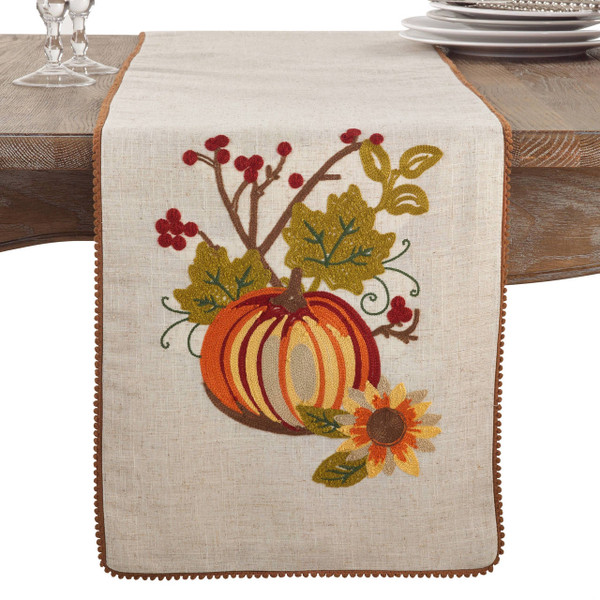 Fennco Styles Embroidered Pumpkin Collection Thanksgiving Table Runner (2 Design)