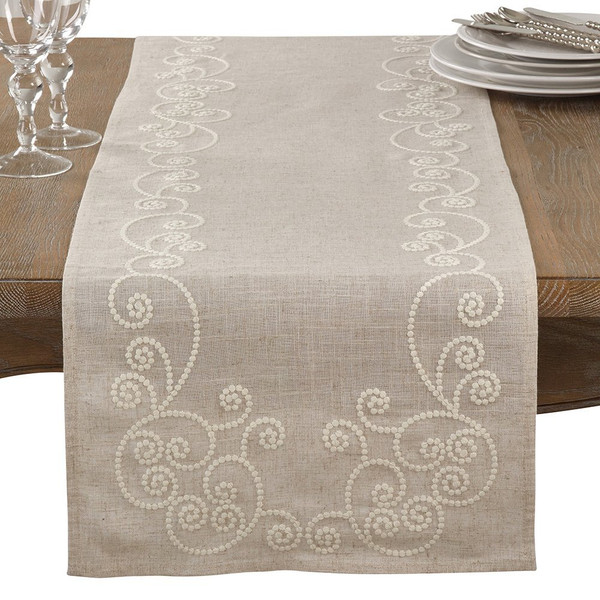 Fennco Styles Embroidered Swirl Design Natural Linen Blend Table Runner & Tablecloth