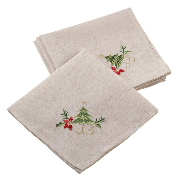 Fennco Styles Embroidered Christmas Tree Design Holiday Linen Blend Table Collection