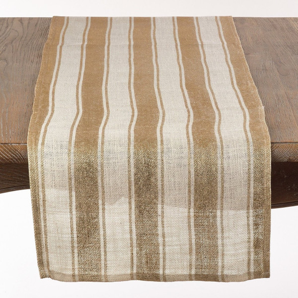 "Fennco Styles Striped Foil Burlap Table Runner - 16""x72""- 2 Colors"