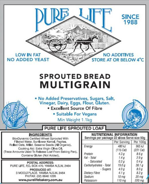 Pure Life Bread Sprouted Multiseed with Hemp