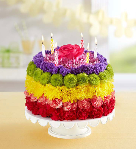 Birthday Wishes Flower Cake Pastel: 1-800 Flowers Products