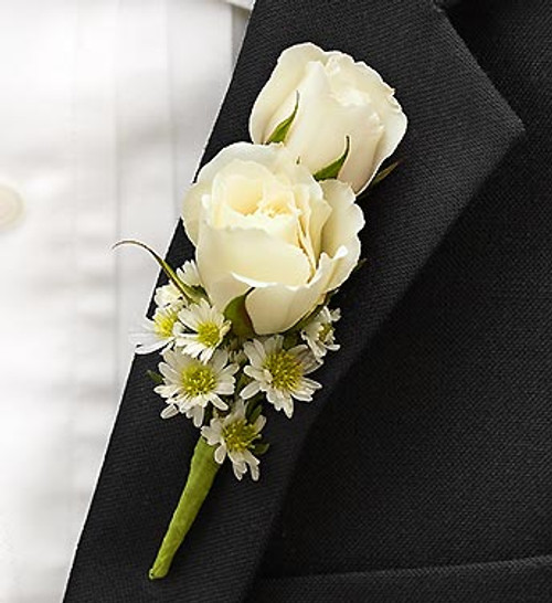 All white ring bearer boutonnire nancys floral all white ring bearer boutonnire mightylinksfo